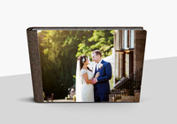 "Roxy and Mark - 10""x14"" 60 page graphistudio with brown woven crystal glance cover"